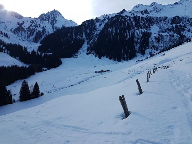oberhalb Greitalm (nachdem wir die Route neben dem Bach am Talboden versäumt haben, stiegen wir 100m höher auf)