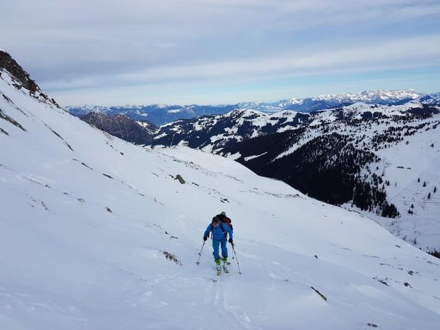 Querung zum Grat unterhalb des Gipfels